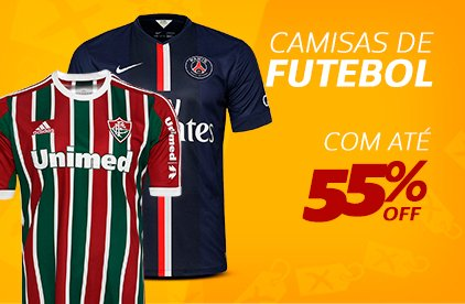 Camisas de Futebol com até 55% OFF
